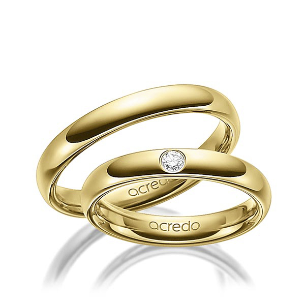 Alliances fines en or jaune et diamants