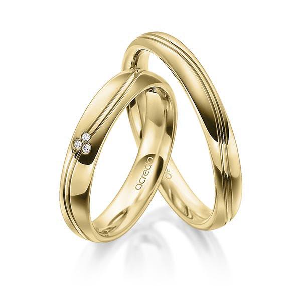 Alliances de mariage avec double rainures en vague et diamants