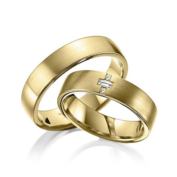 Bagues de mariage simples en or jaune avec incrustation de diamant
