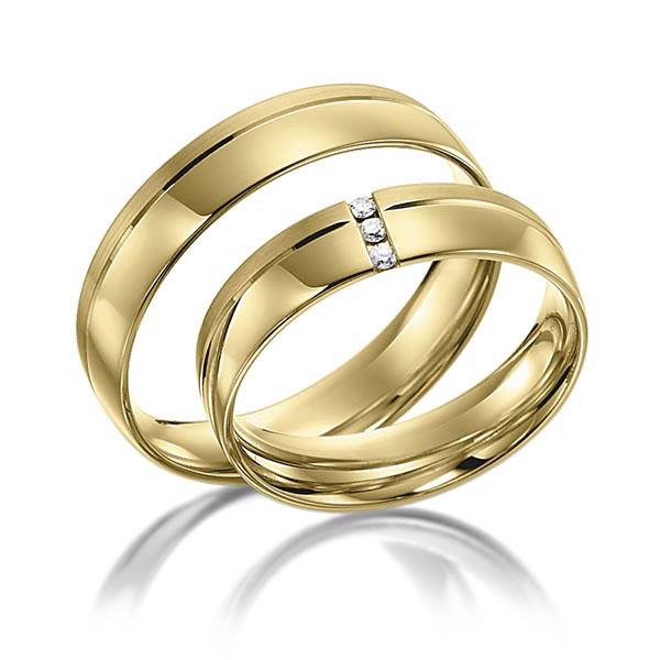 Alliances de mariage en or jaune 18 carats de chez Acredo