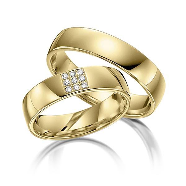 Bagues de mariage en or jaune de 22 carats avec pavage de diamants