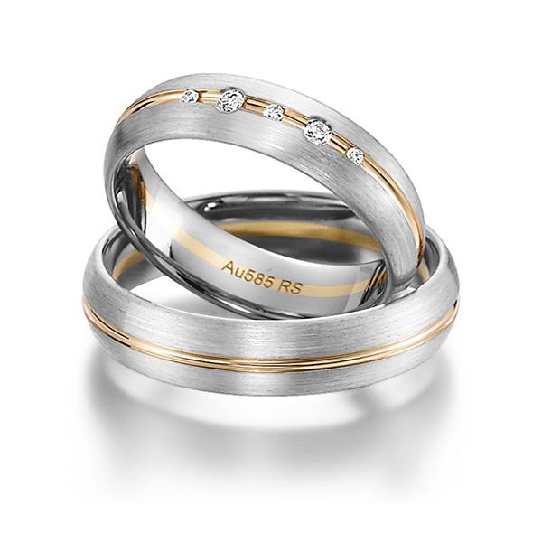 Bague de mariage en or rose et incrustation de diamants