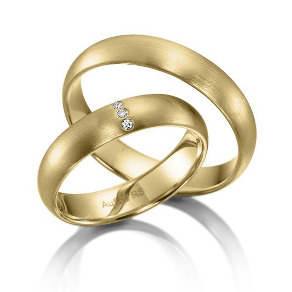 Bague de mariage en or jaune et incrustation de diamants