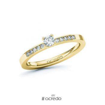 Bague de fiançailles en or et diamant solitaire avec pavage de diamants