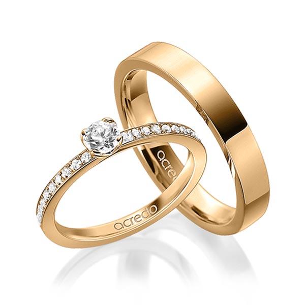 Couple de bagues en or rose et diamants avec solitaire