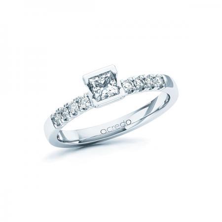 Bague de fiançailles mémoire avec solitaire diamant