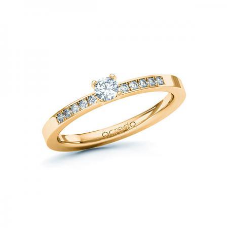 Bague de fiançailles en or rose 18 carats avec solitaires et diamants incrustés