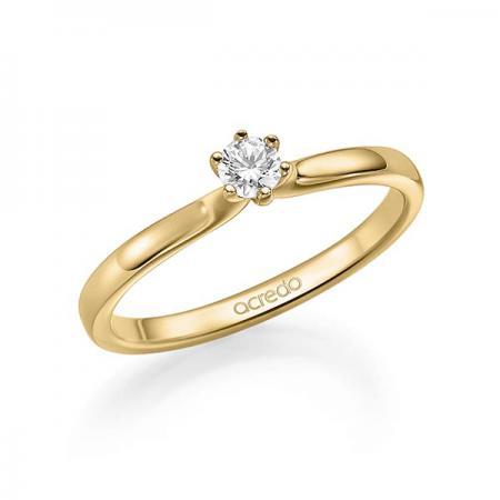 Solitaire diamant sur bague de fiançailles en or jaune 18 carats
