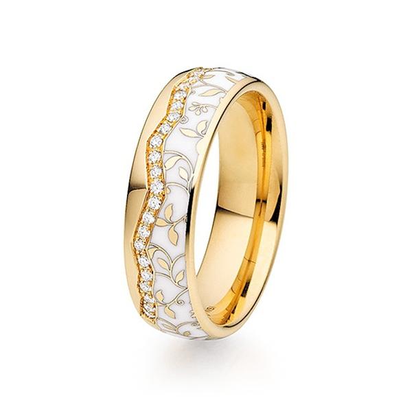 Alliances de mariage en or et céramique de la collection Fischer Elise