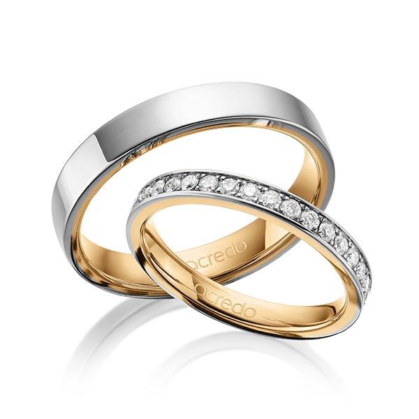 Alliances en or bicolore et incrustation de diamants