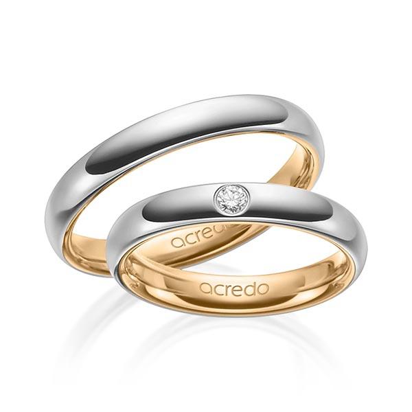 Alliances bicolores en or jaune et blanc avec diamant