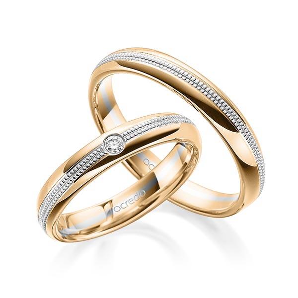 Alliances en or rose et blanc avec finition millegrains et diamant