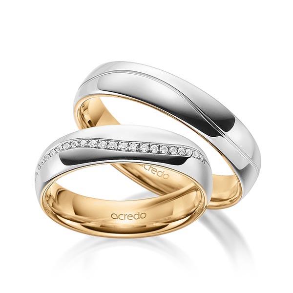 Alliances de mariage bicolores en or avec rainure et diamants