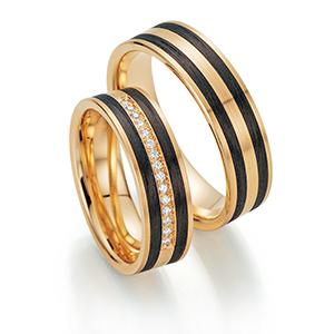 Alliances de mariage en carbone et or jaune avec pavage de diamants