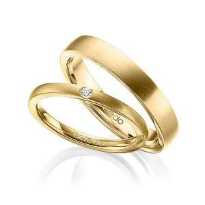 Alliances de mariage en or brossé