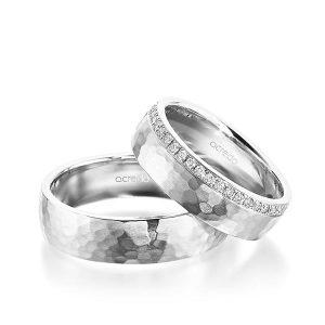 Alliances de mariage martelées en or blanc