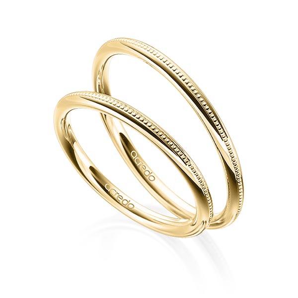 Alliances de mariage millegrains en or jaune