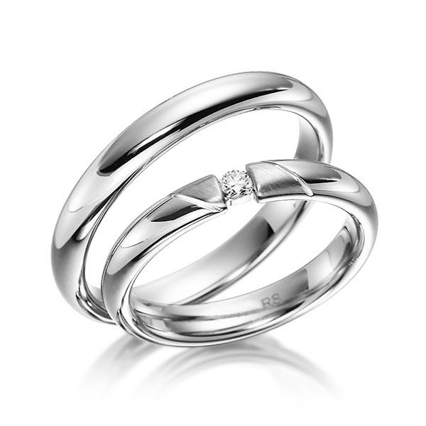 Alliances de mariage modernes en or blanc avec diamant