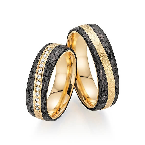 Alliances de mariage en carbone avec rainure en or et diamants