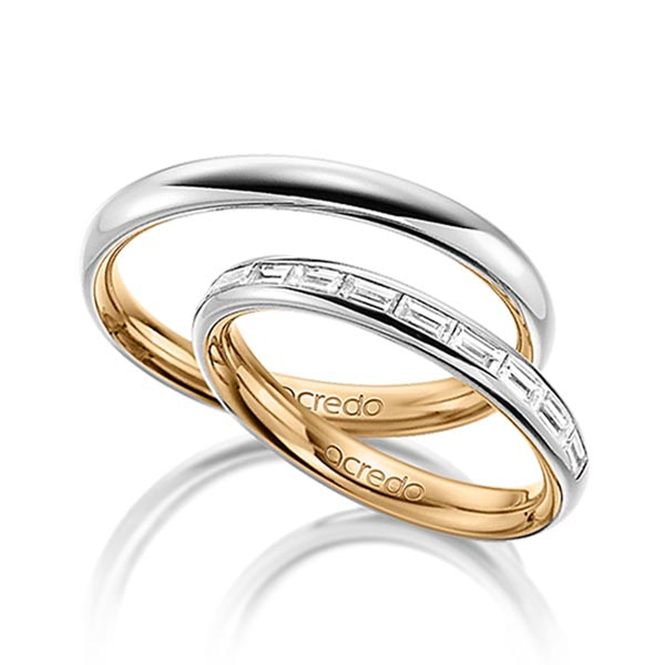 Alliances en or rose et blanc et pavage de diamants baguette