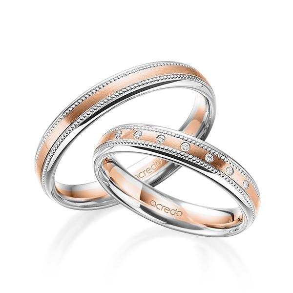 Alliances de mariage millegrains en or rose et platine