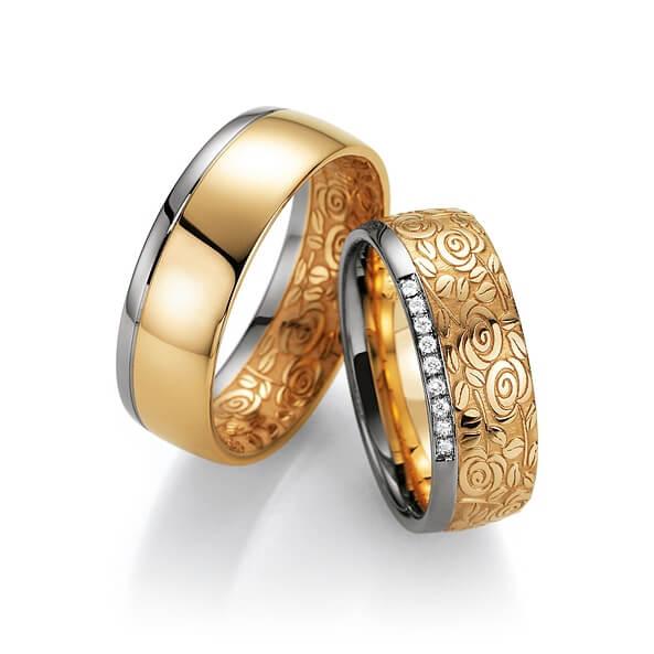 Alliances d'exception avec la gravure florale or bicolor et diamants