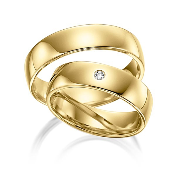 Alliances de mariage polies en or jaune et diamant