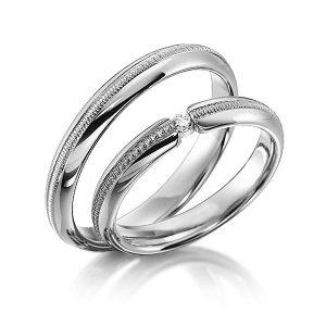 Anneaux de mariage Millegrains Acredo en platine