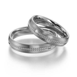 Anneaux de mariage en platine Millegrains
