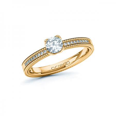 Bague de fiançailles avec brillant et finition millegrains