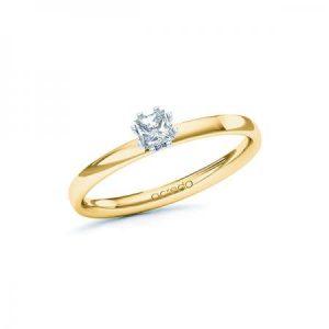 Bague de fiançailles en or jaune avec diamant solitaire princesse