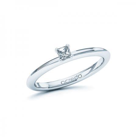 Bague de fiançailles fine avec bord haut en or blanc et solitaire diamant princesse
