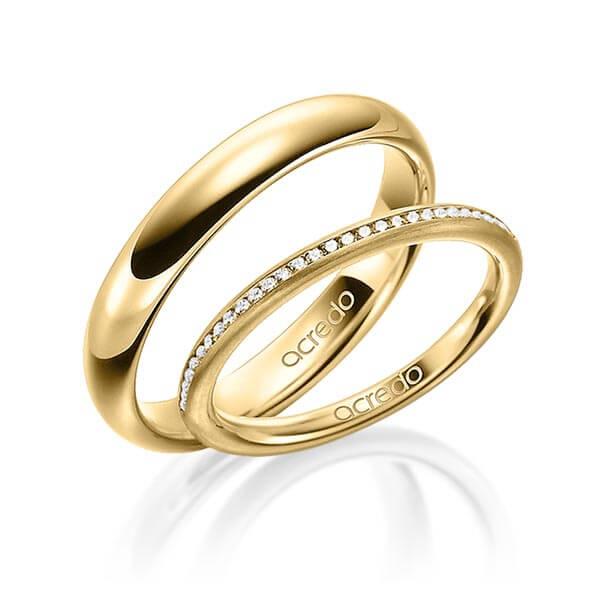 Bague de mariage élégante en or jaune avec diamants