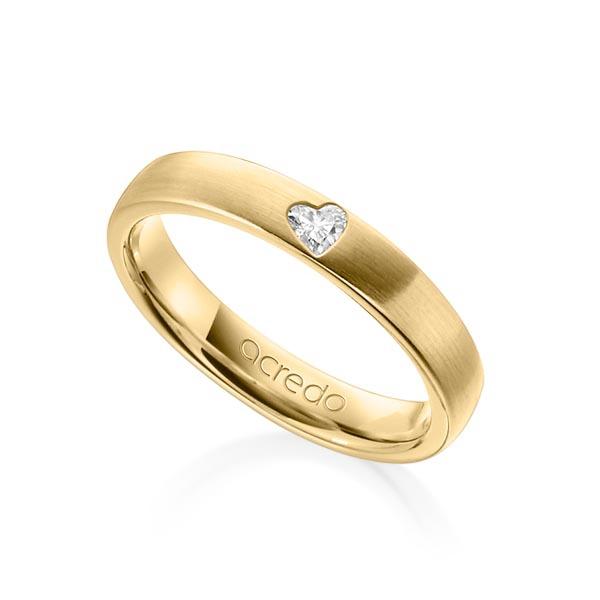 Bague de mariage en or jaune brossé avec diamant taillé en coeur