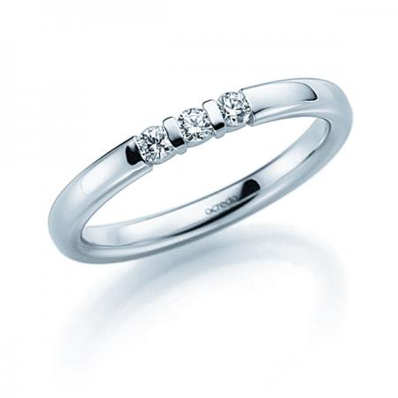 Bague mémoire en or blanc avec trois diamants