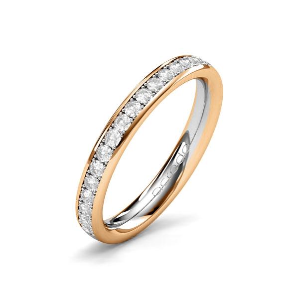 Bague mémoire en or rose et tour complet serti de diamants