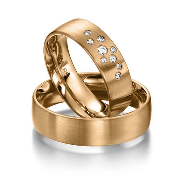 Bague Star avec constellation de diamants et or brossé