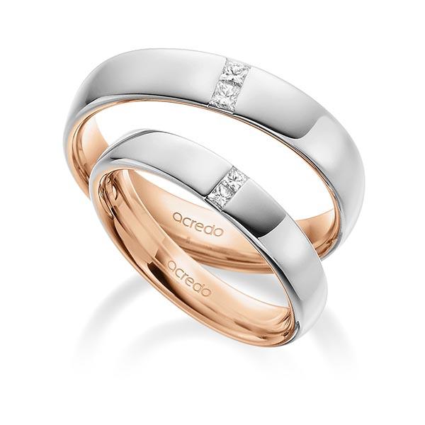 Bagues bicolors or rose et or blanc avec double serti diamants carrés
