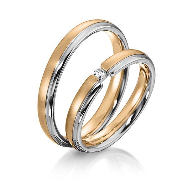 Bagues de mariage bicolore en or rose et blanc avec solitaire