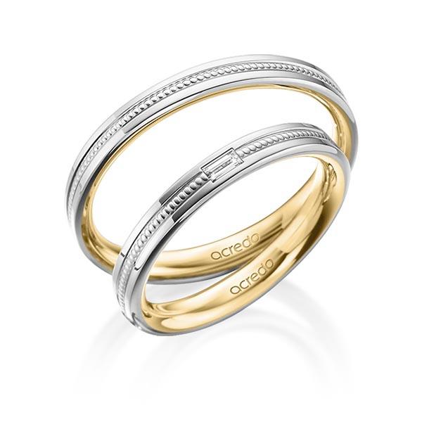 Bagues de mariage millegrains avec diamant baguette et bicolore