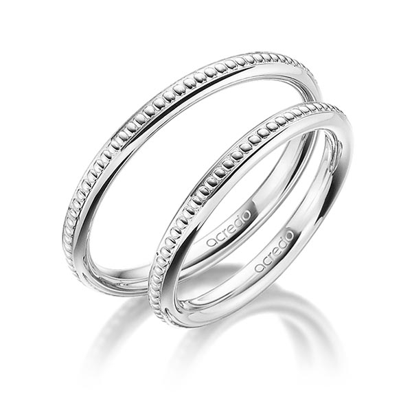 Bague de mariage Millegrains en or blanc