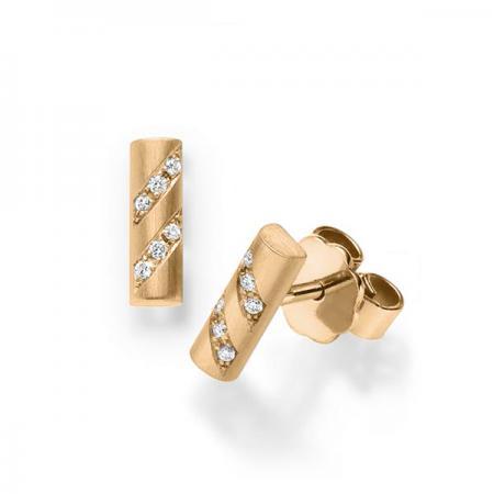 Boucles d'oreilles en or rose serti de diamants