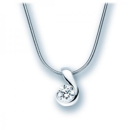 Collier Acredo en or blanc et solitaire diamant