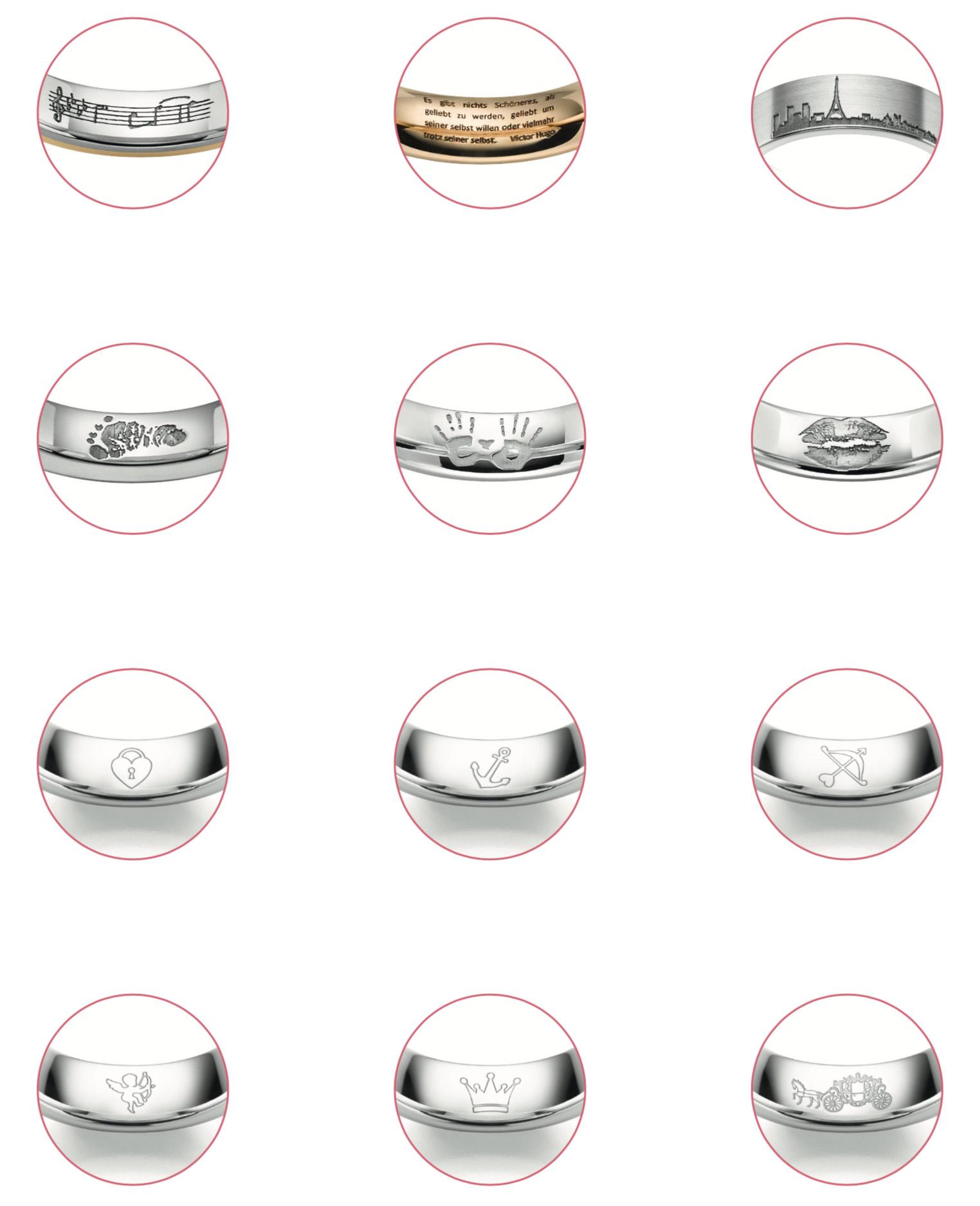 Exemples de gravures au laser sur des alliances de mariage