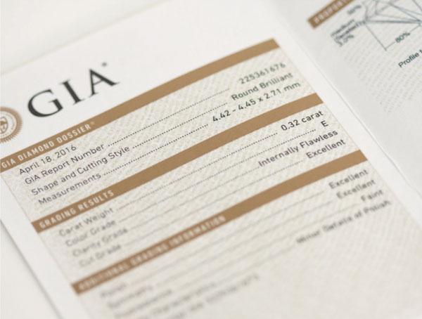 Certificat de qualité GIA